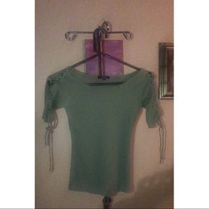 Tops - Green adjustable lace up short sleeve shirt